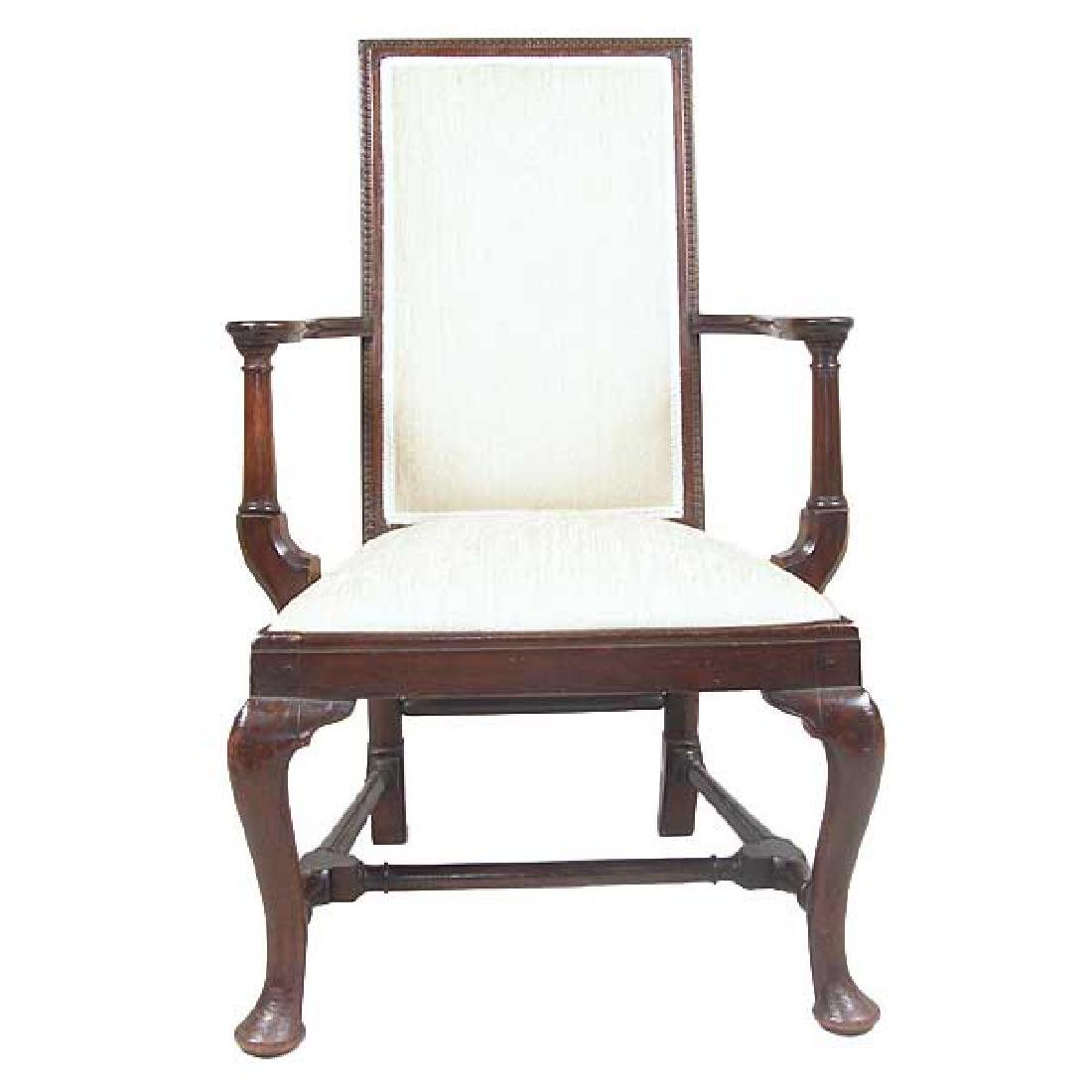 English Queen Anne Style Mahogany Upholstered Armchair - 2