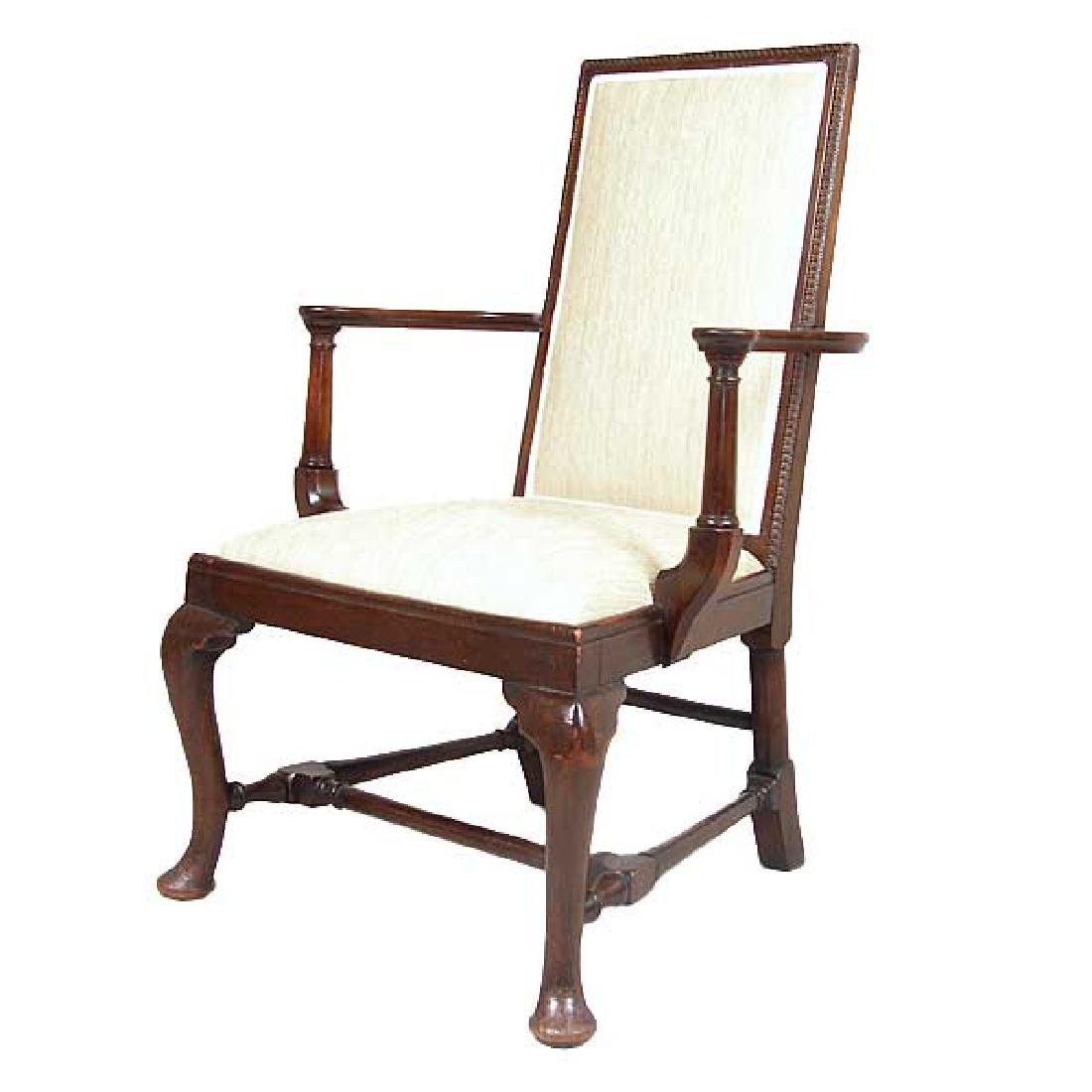English Queen Anne Style Mahogany Upholstered Armchair - 3