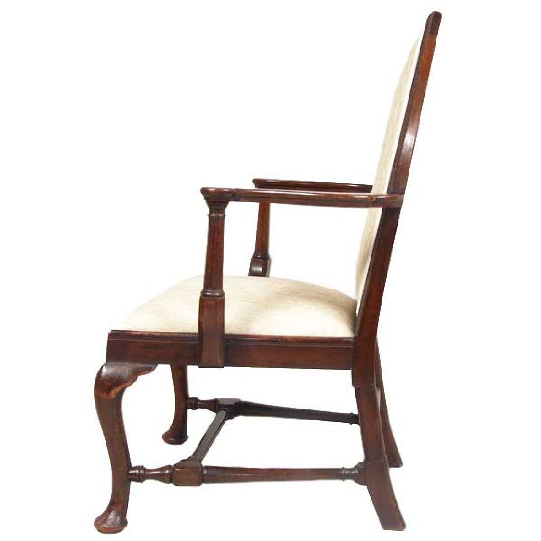 English Queen Anne Style Mahogany Upholstered Armchair - 4