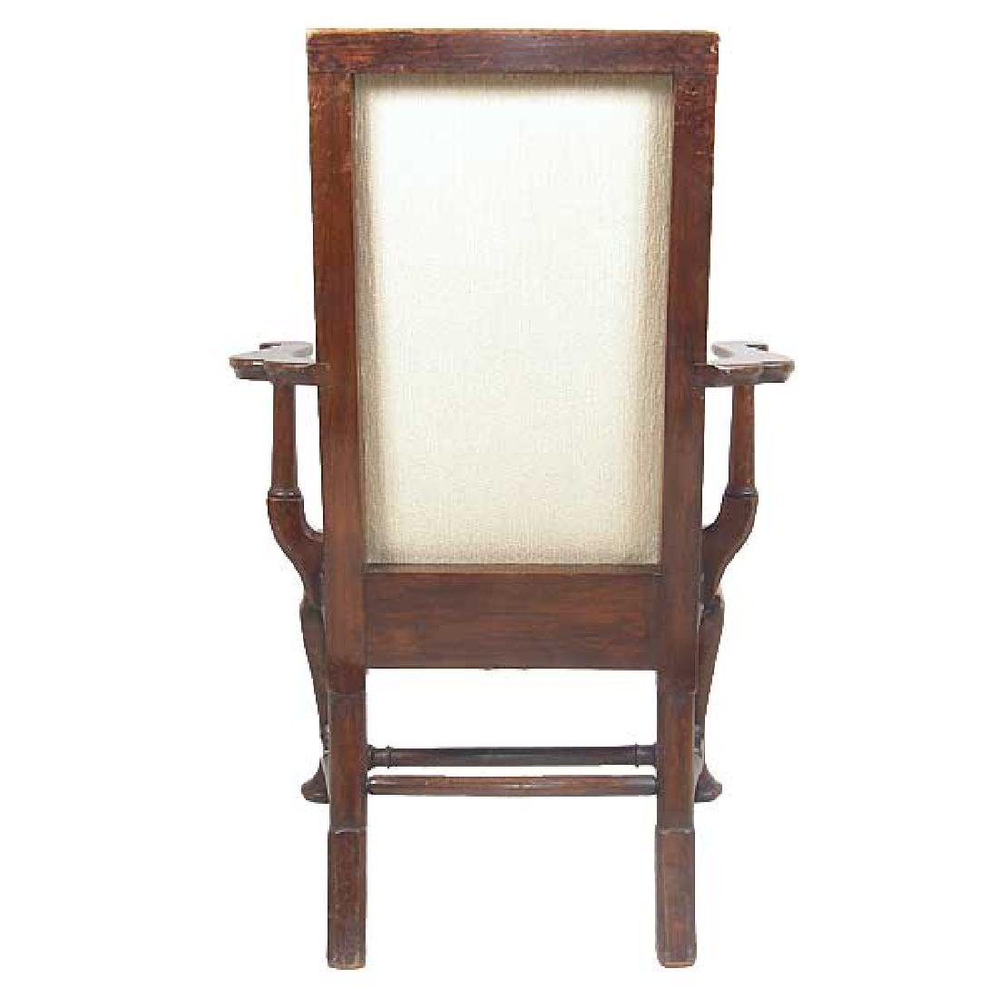 English Queen Anne Style Mahogany Upholstered Armchair - 5