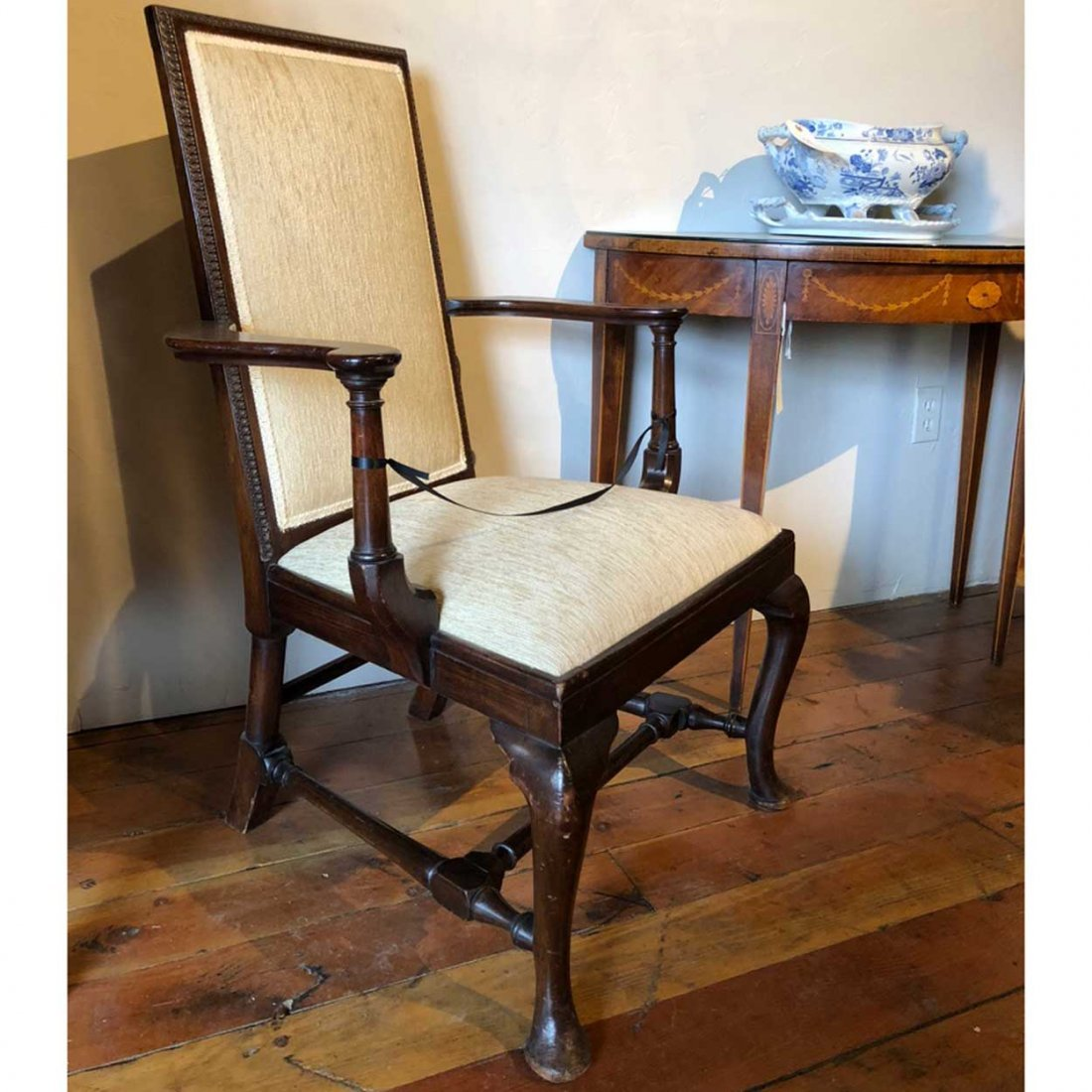 English Queen Anne Style Mahogany Upholstered Armchair - 6