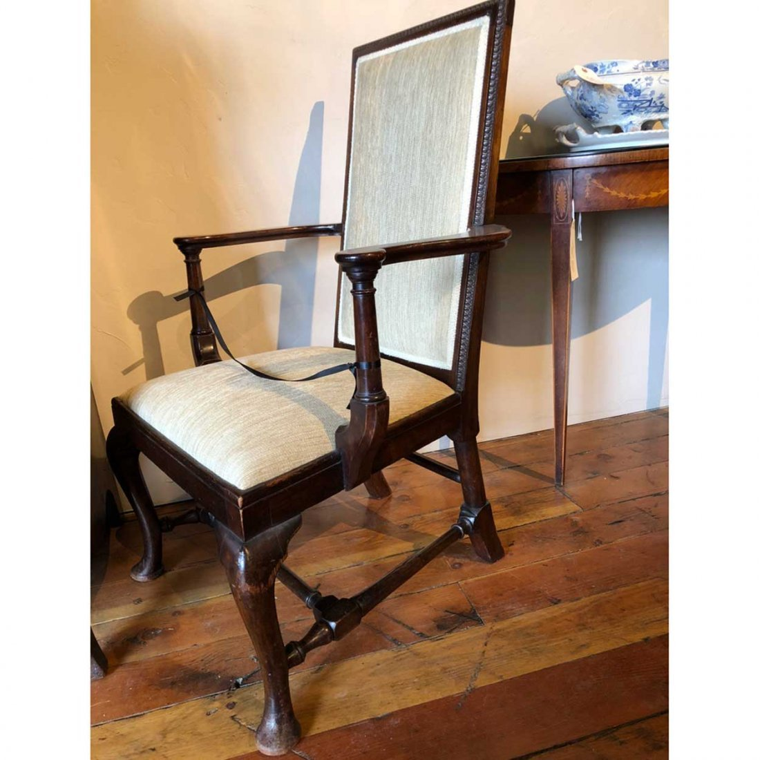 English Queen Anne Style Mahogany Upholstered Armchair - 9