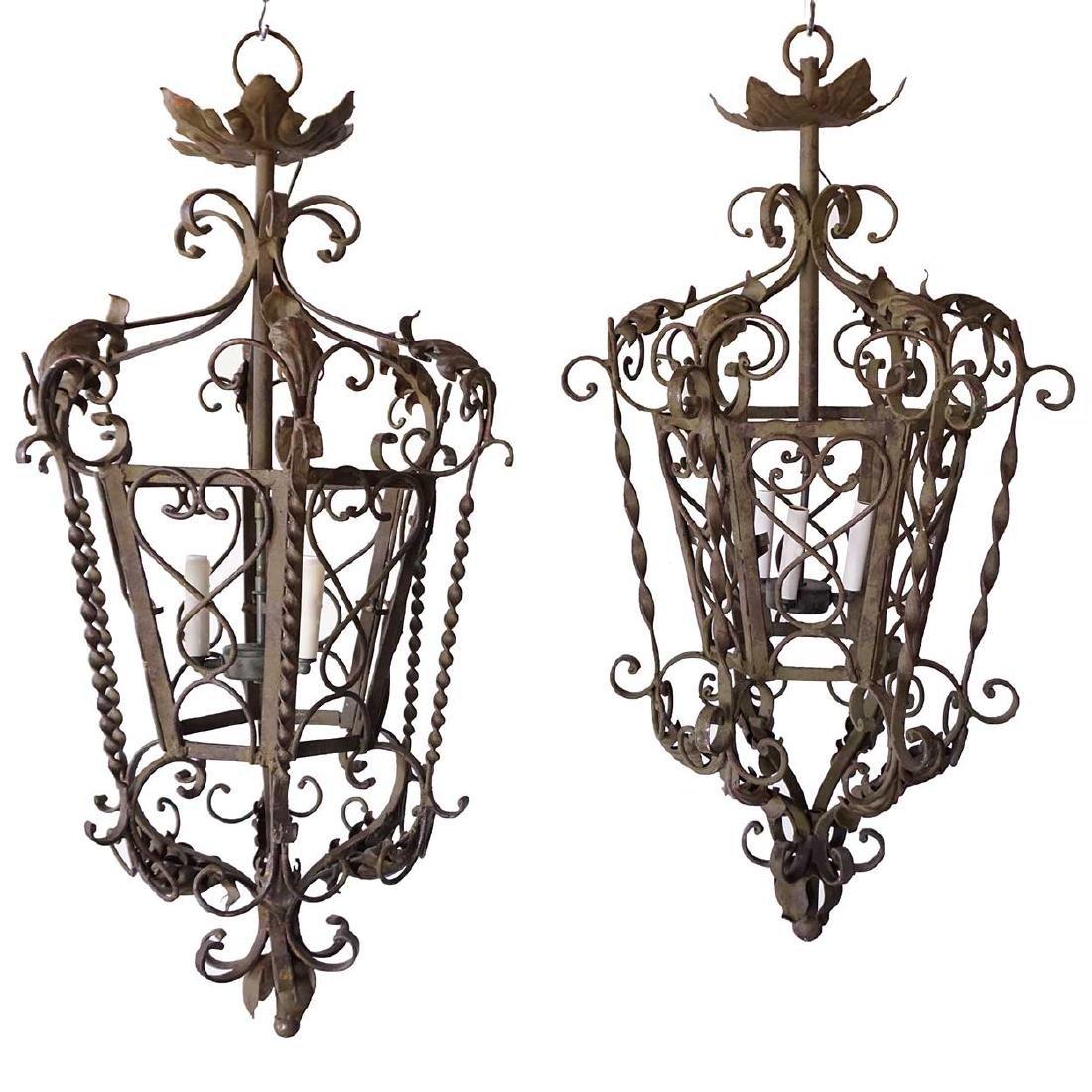 Pair Spanish/French Wrought Iron Hanging Lanterns