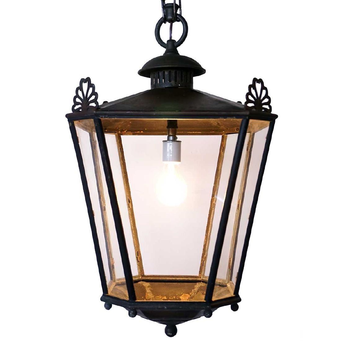 English Heavy Patinated Bronze 1-Light Hanging Lantern