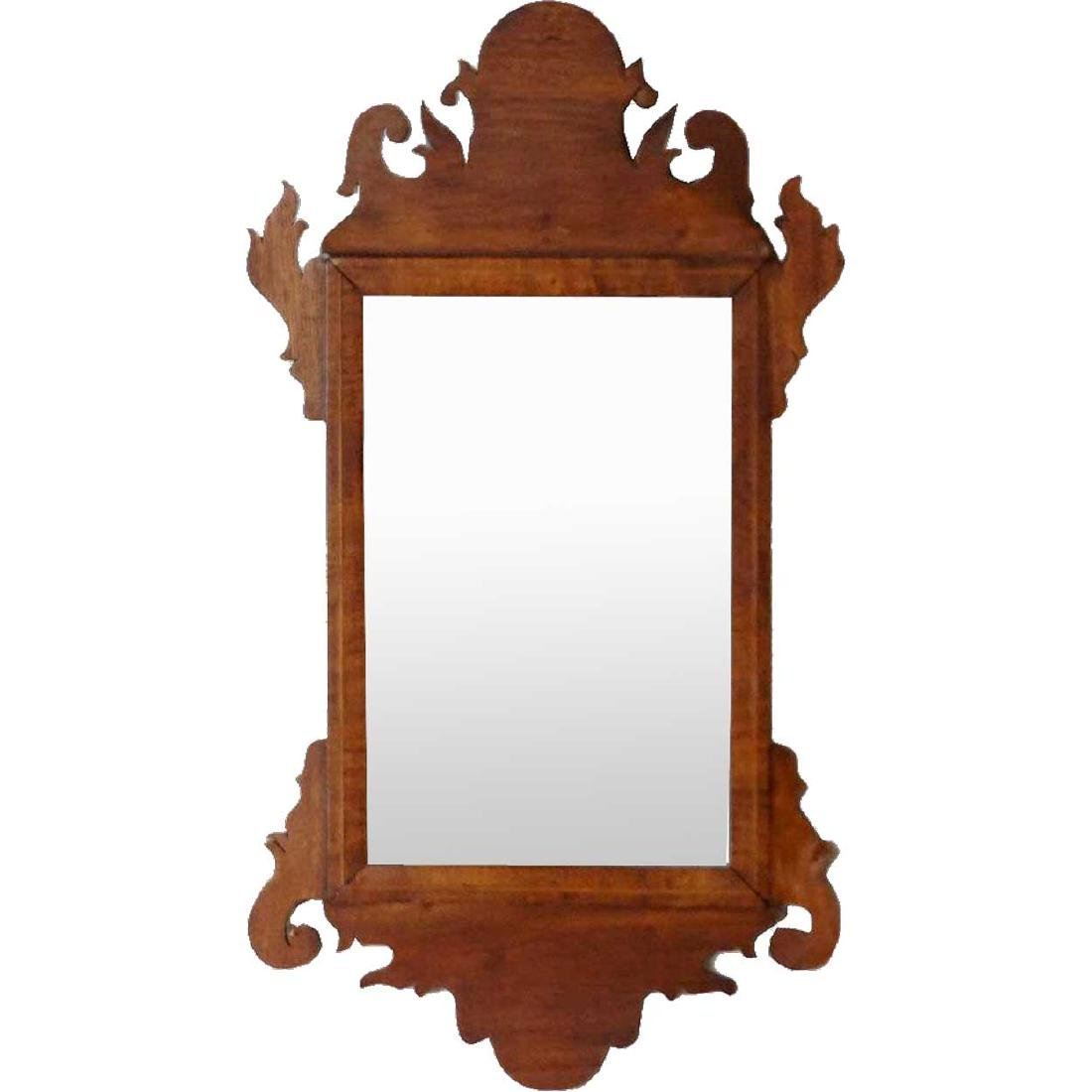 Small American Chippendale Inlaid Mahogany Mirror