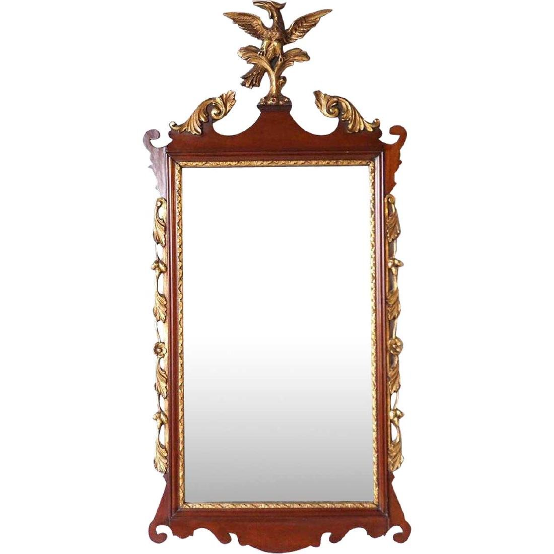 Vintage Chippendale Style Gilt Mahogany Eagle Mirror