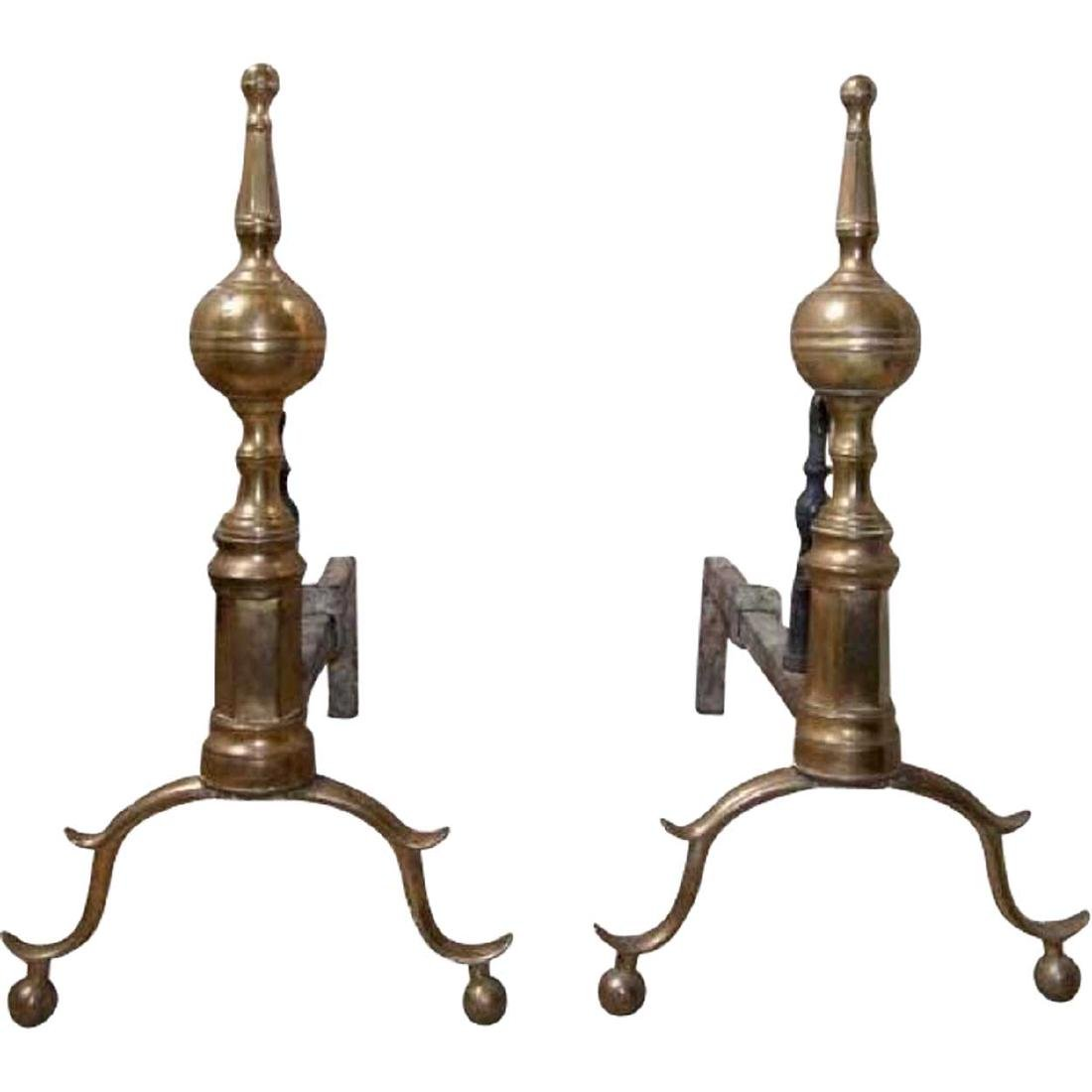 Pair of American New York Federal Bell Andirons