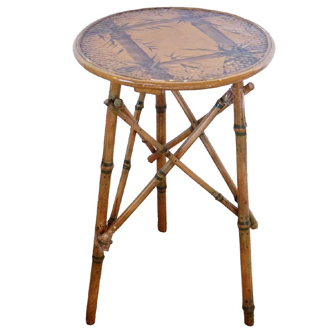 English Victorian Period Bamboo Round Side Table