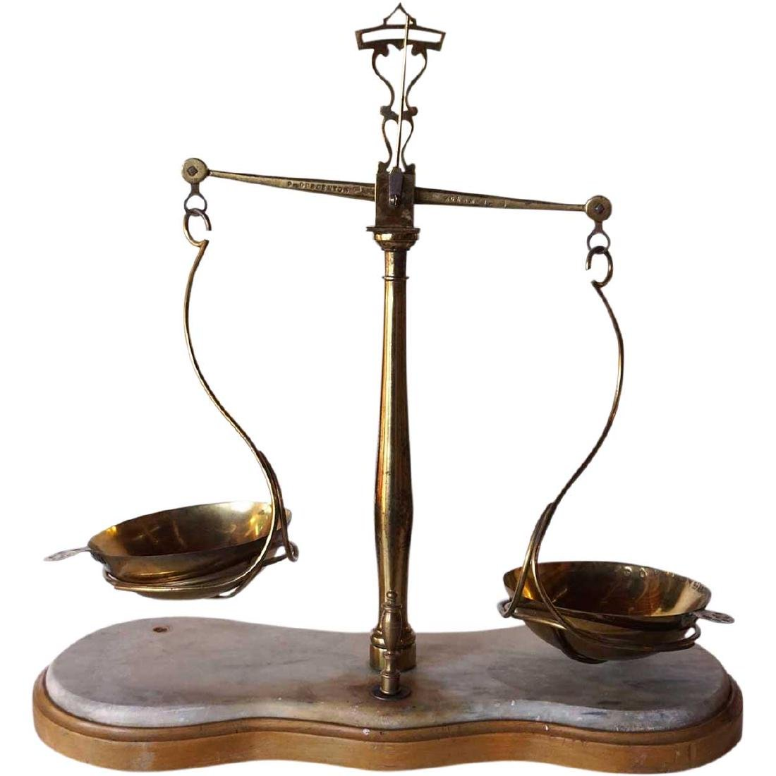 Large Italian Brass and Marble Assayer's Scale