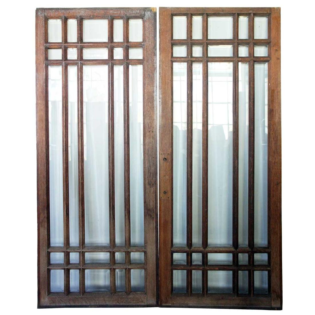 Pair American Mission Beveled Glass Doors