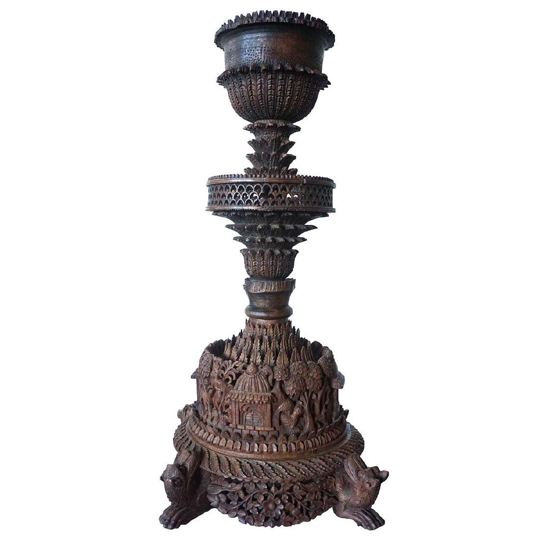 Indian Heavily Carved Rosewood Oil Lamp Base