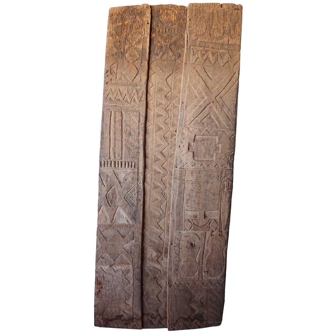 Vintage Large Nigerian Nupe 3-Panel Wood Single Door