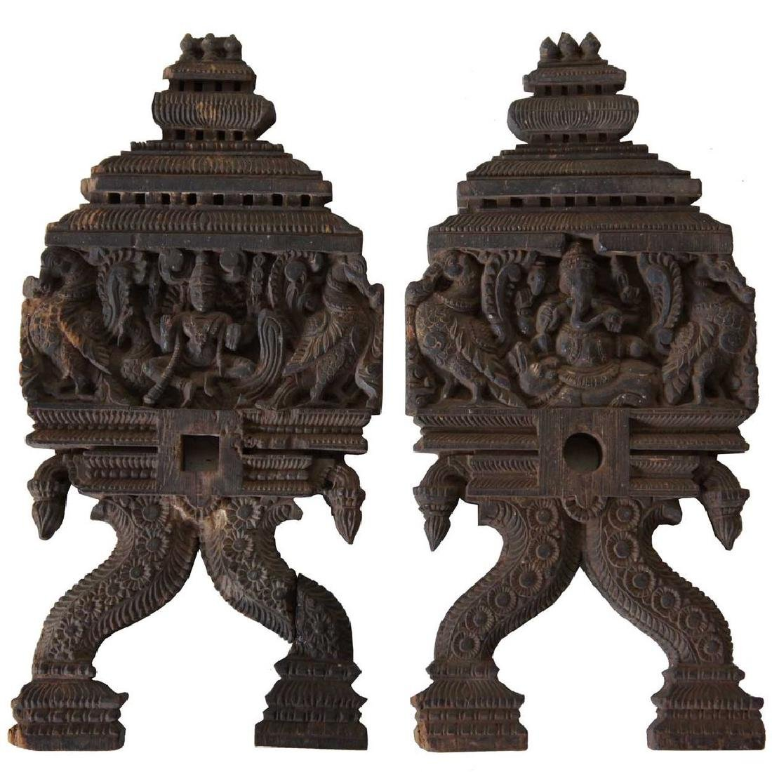 Pair of Indian Carved Teak Architectural Fragments