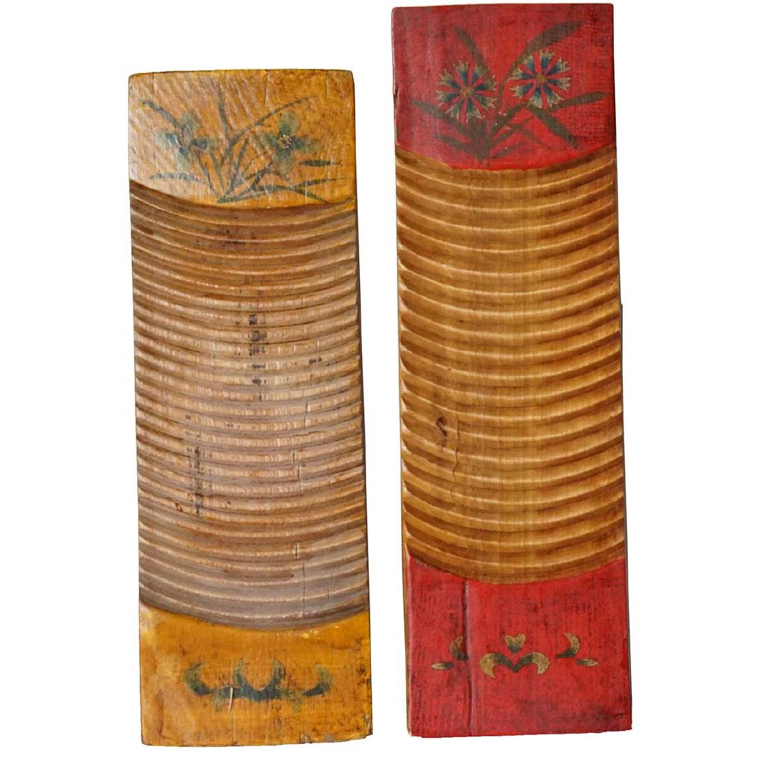 Two Chinese Primitive Hand Painted Wood Washboards