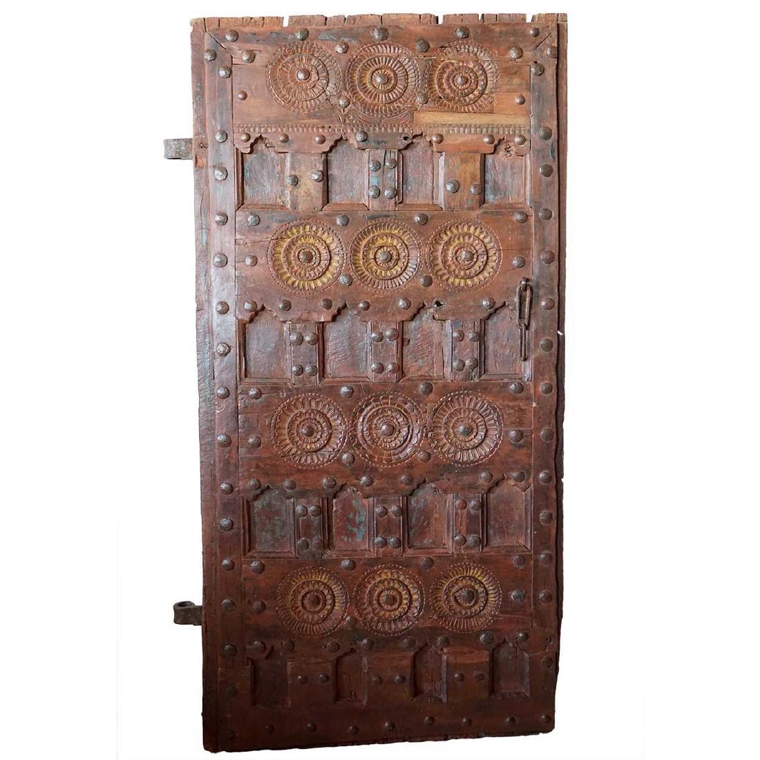 Indian Tribal Iron Mounted Teak Paneled Door