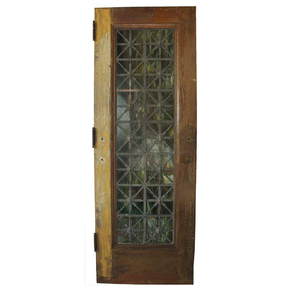 American Tiffany Style Zinc and Art Glass Single Door