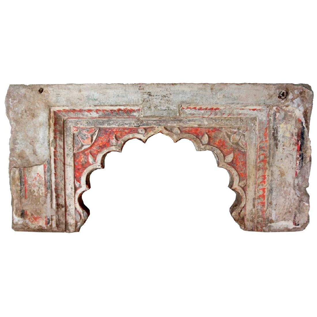 Indian Painted Limestone Architectural Arch