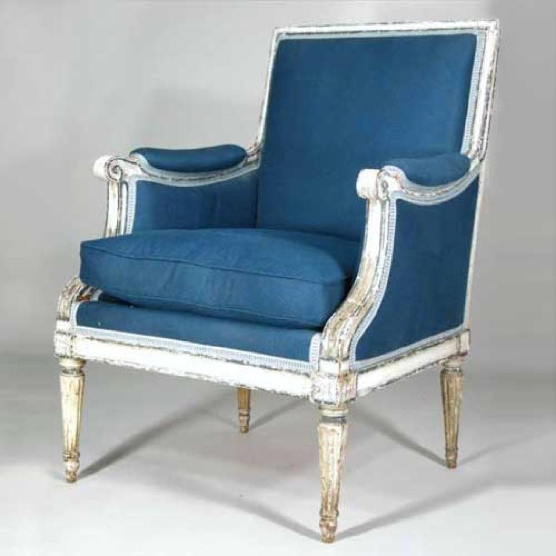 French Louis XVI Painted Armchair (Bergere)