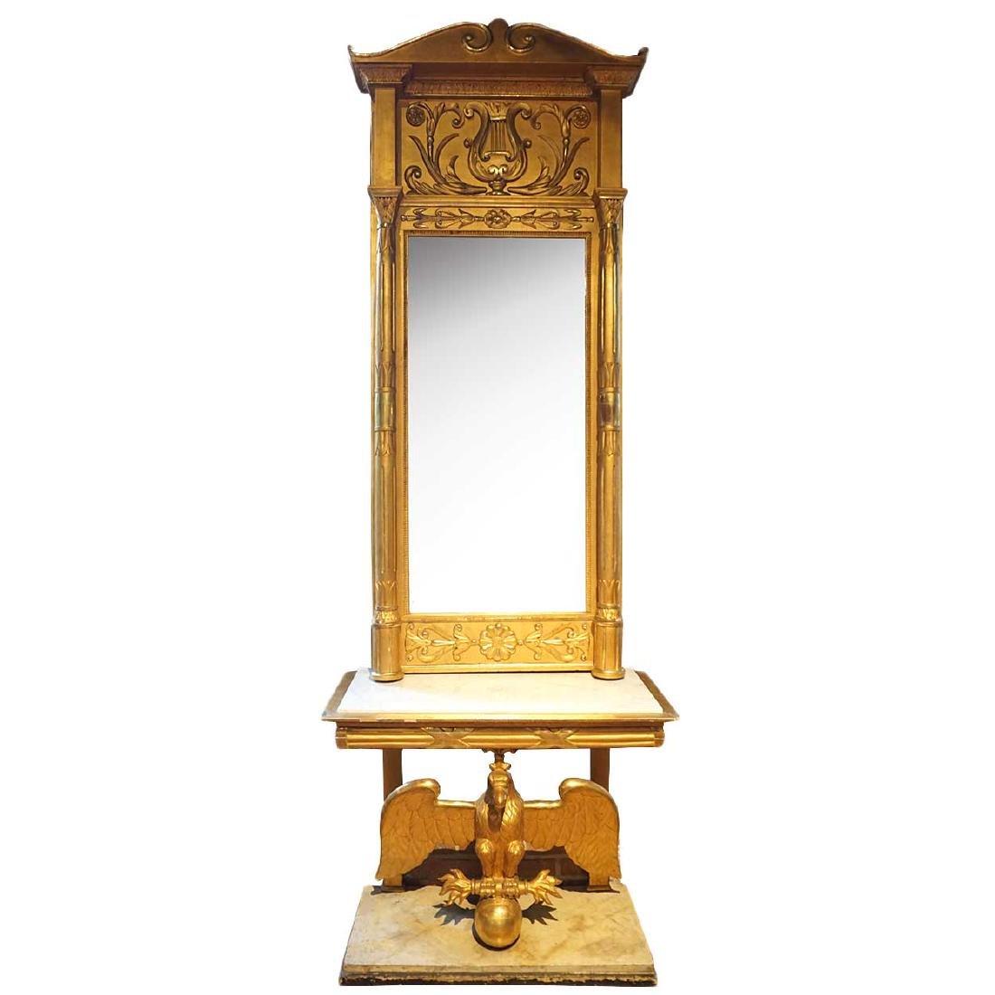 Swedish Karl Johan Gilt Pier Mirror and Marble Console