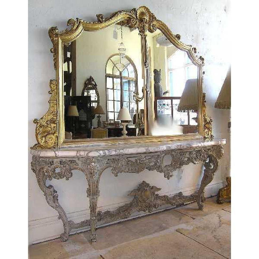 Large Italian Rococo Style Painted Console & Mirror