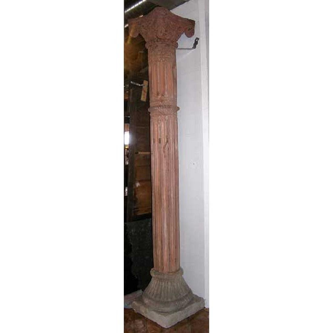 Large Anglo Indian Painted Teak Column