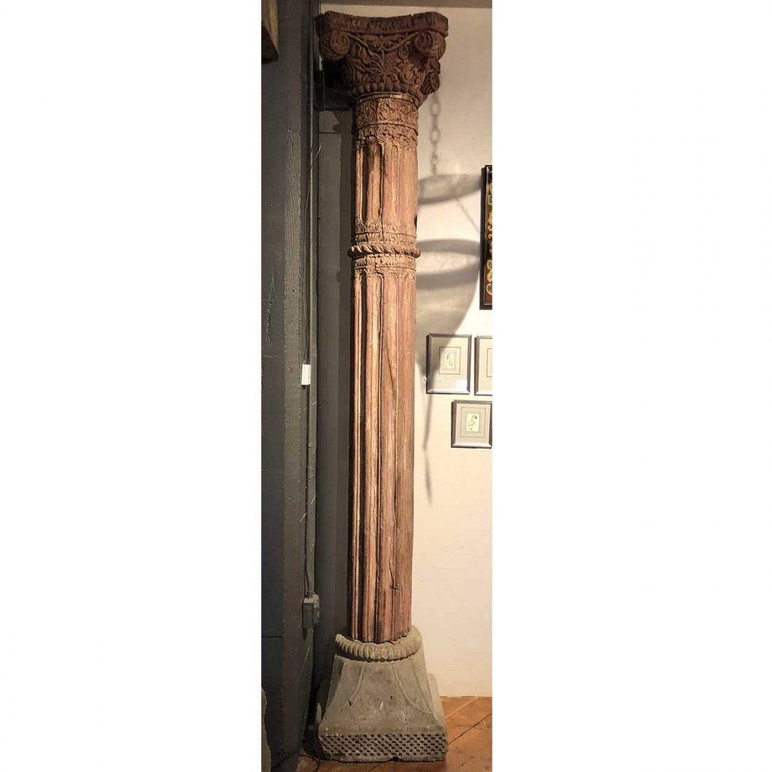 Large Anglo Indian Painted Teak and Stone Column