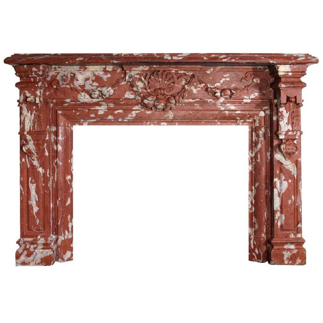French Louis XIV Red Languedoc Marble Fireplace