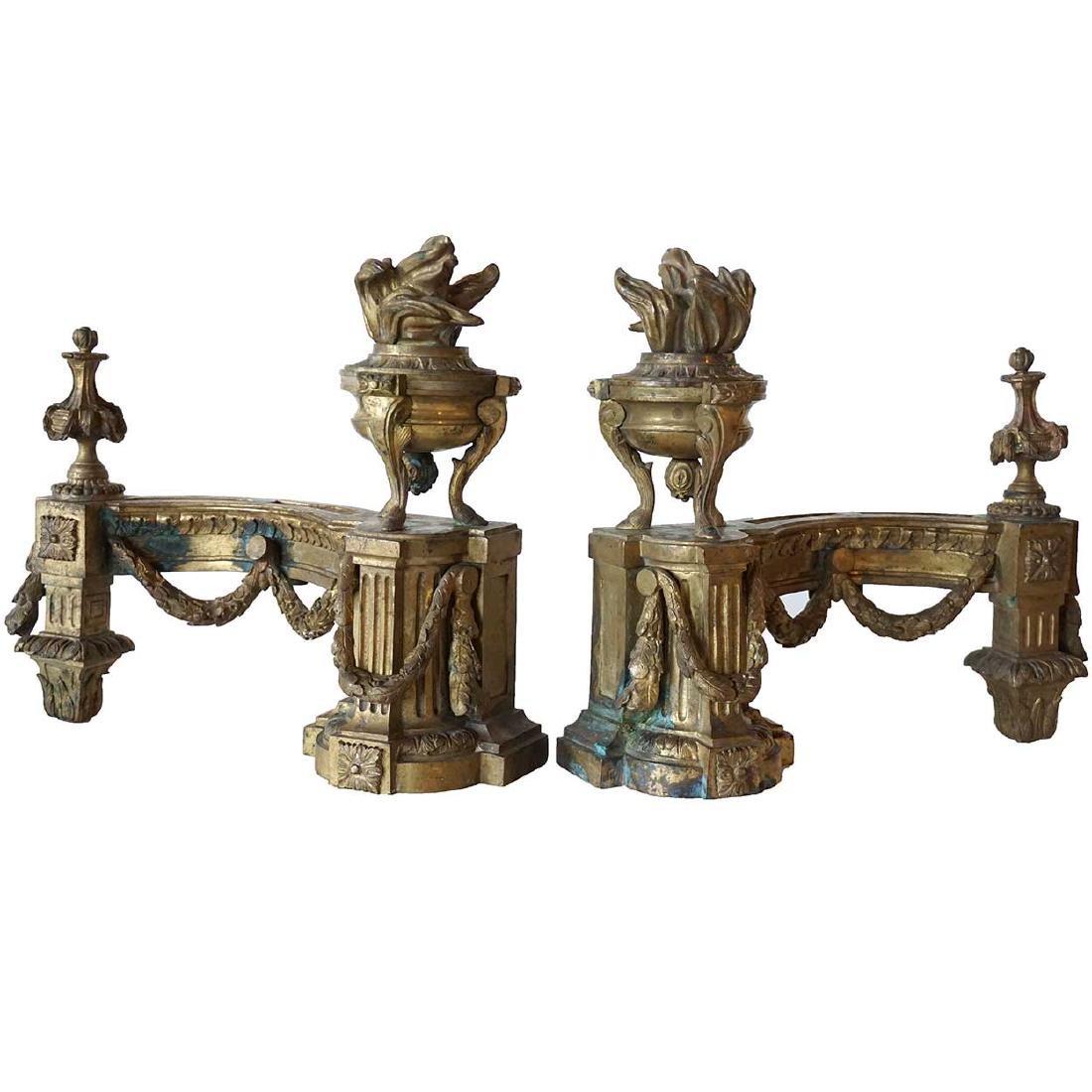 Pair of French Louis XVI Bronze Chenets