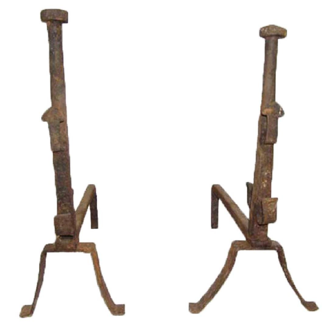 Pair of French Provincial Wrought Iron Andirons