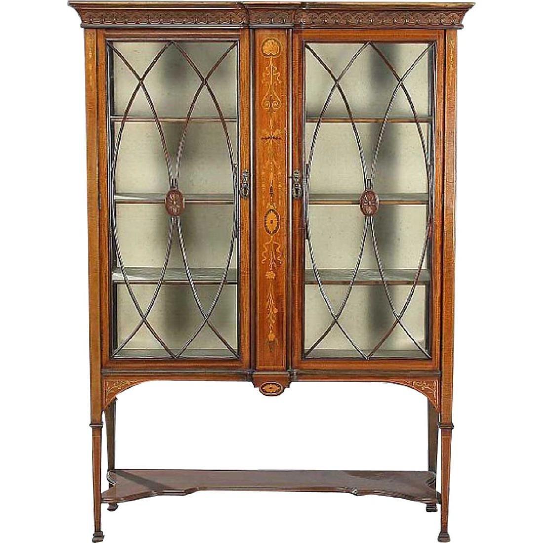 English Edwardian Adam Style Glass Display Cabinet