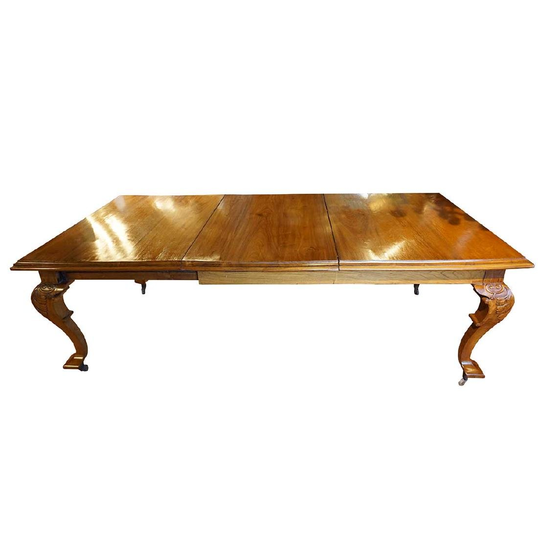Anglo Indian Teak Campaign Extending Dining Table