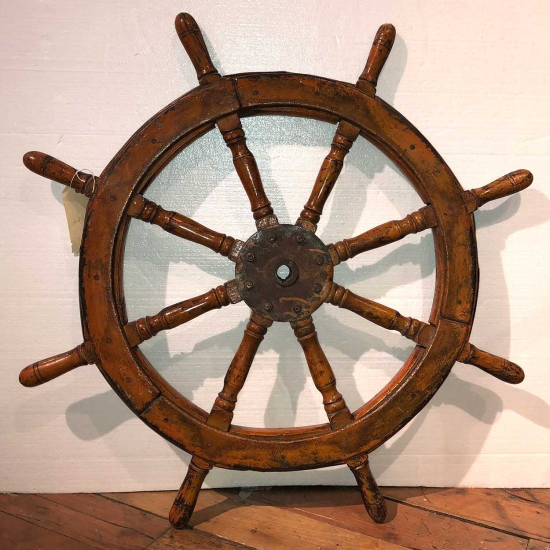 Antique Painted and Metal Mounted Wood Ship's Wheel