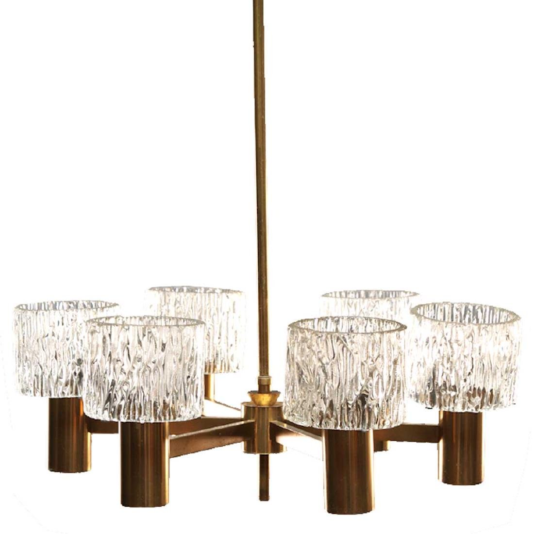 Swedish CARL FAGERLUND for Orrefors Glass Chandelier