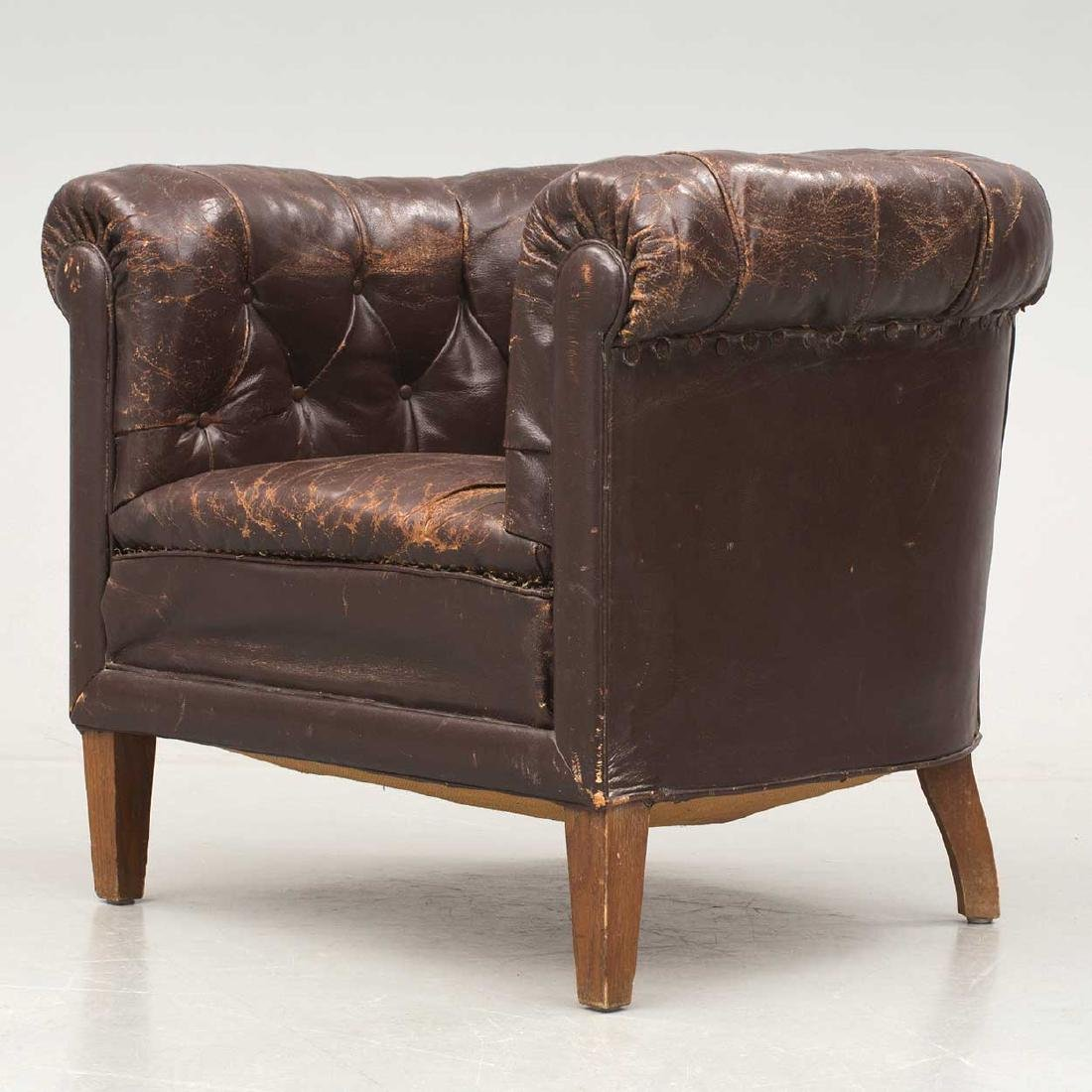 Swedish Tufted Brown Leather Club Chair - 2