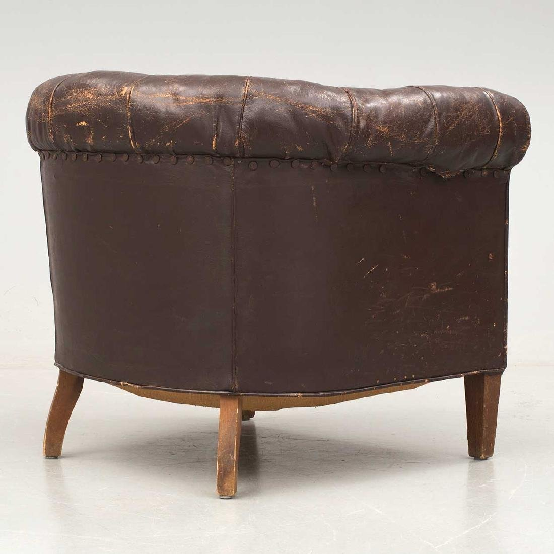 Swedish Tufted Brown Leather Club Chair - 4