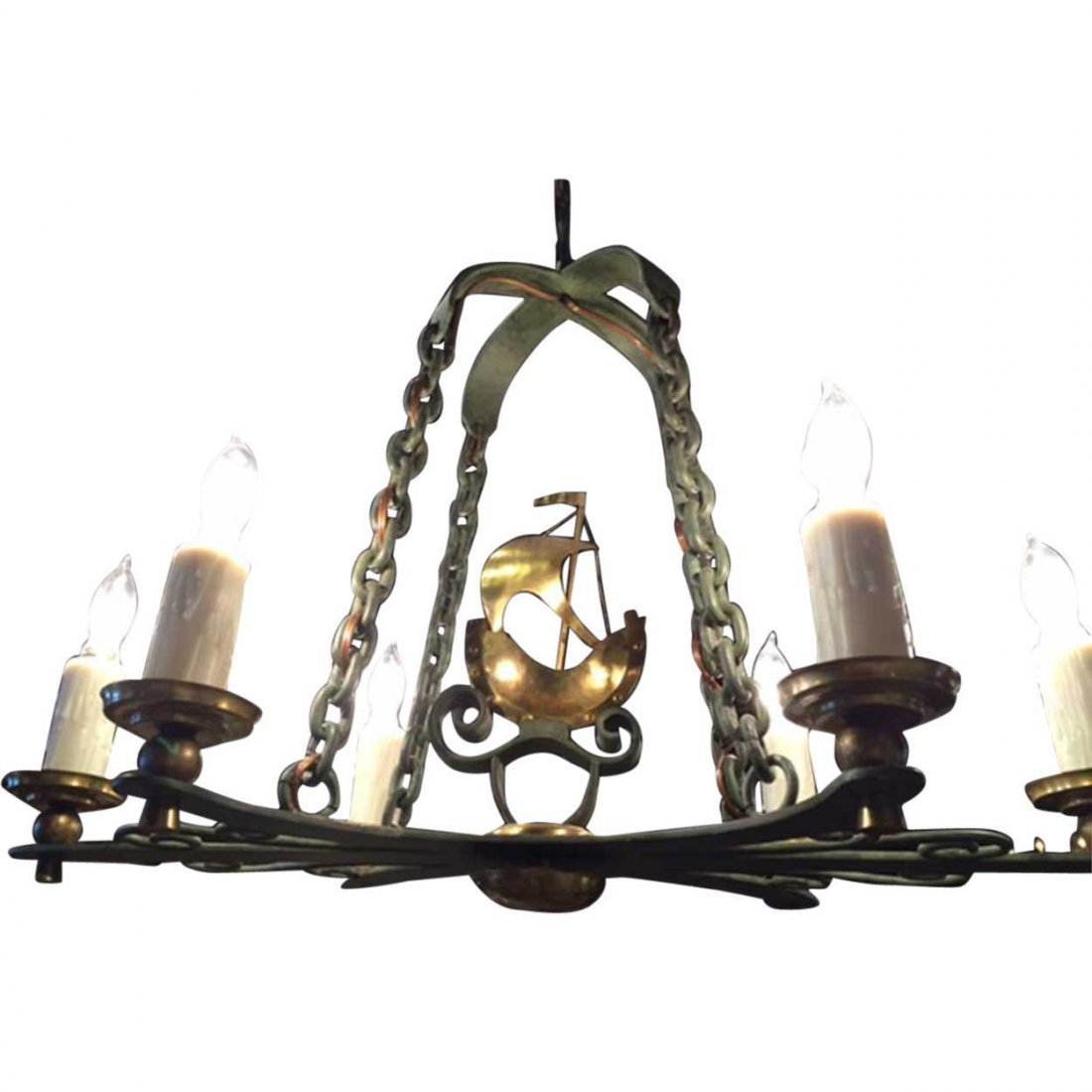 Vintage Swedish Brass and Bronze Ship Chandelier