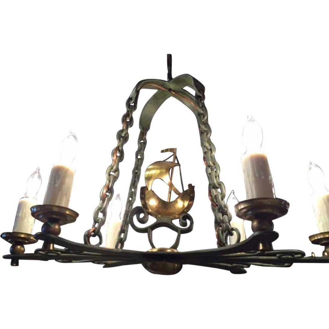 Vintage Swedish Brass and Bronze Ship Chandelier