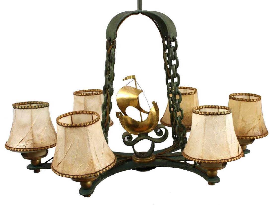 Vintage Swedish Brass and Bronze Ship Chandelier - 2