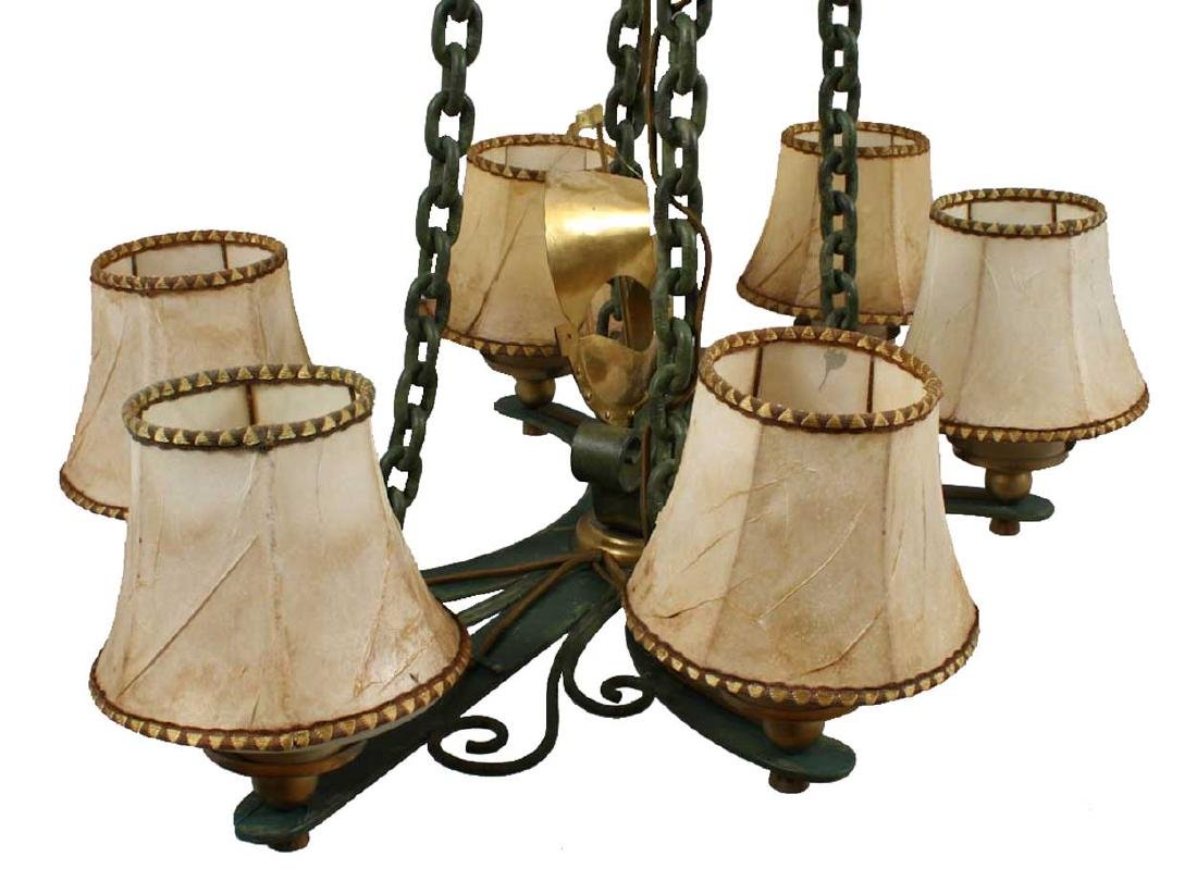 Vintage Swedish Brass and Bronze Ship Chandelier - 3