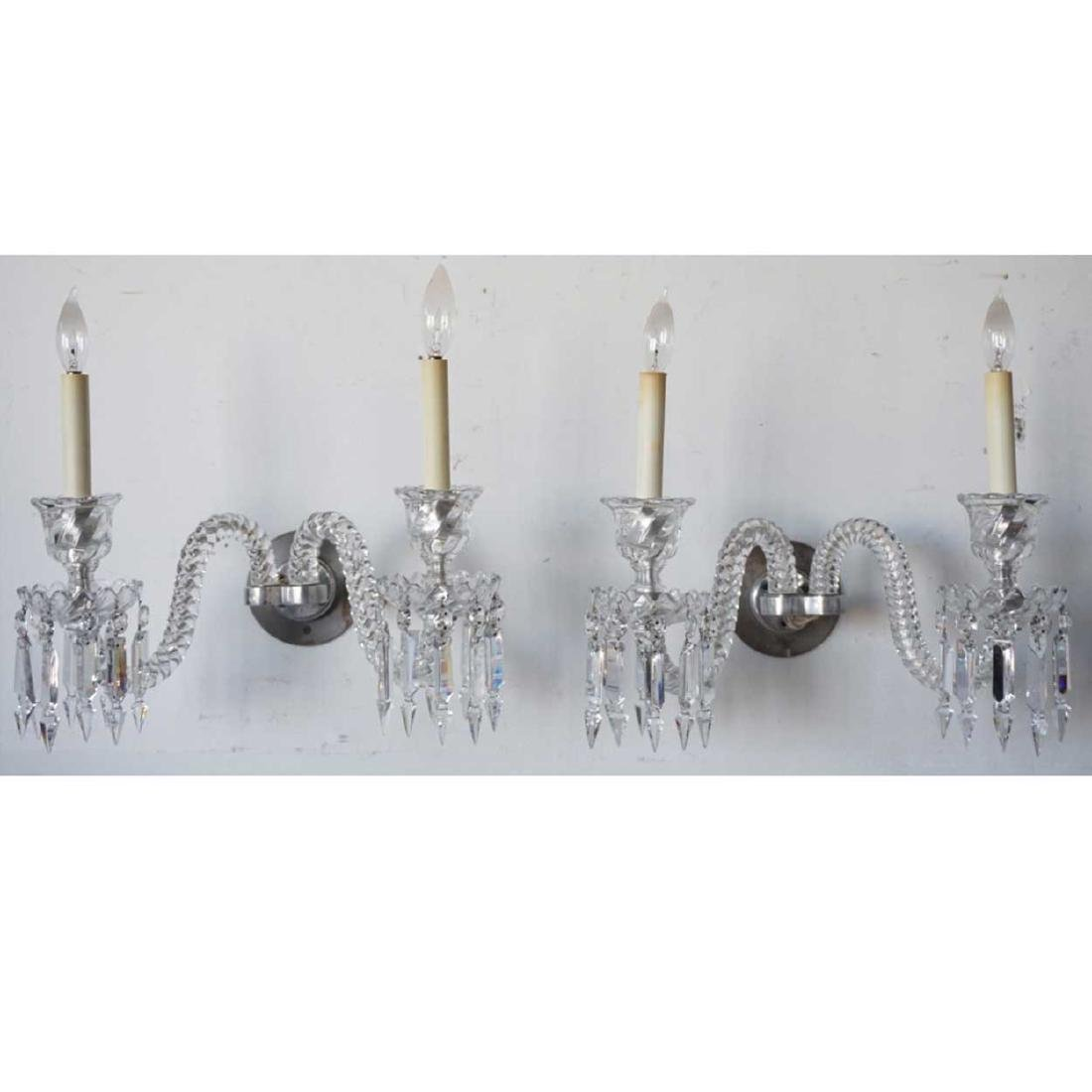 Pair of Crystal Two-Light Sconces Parts