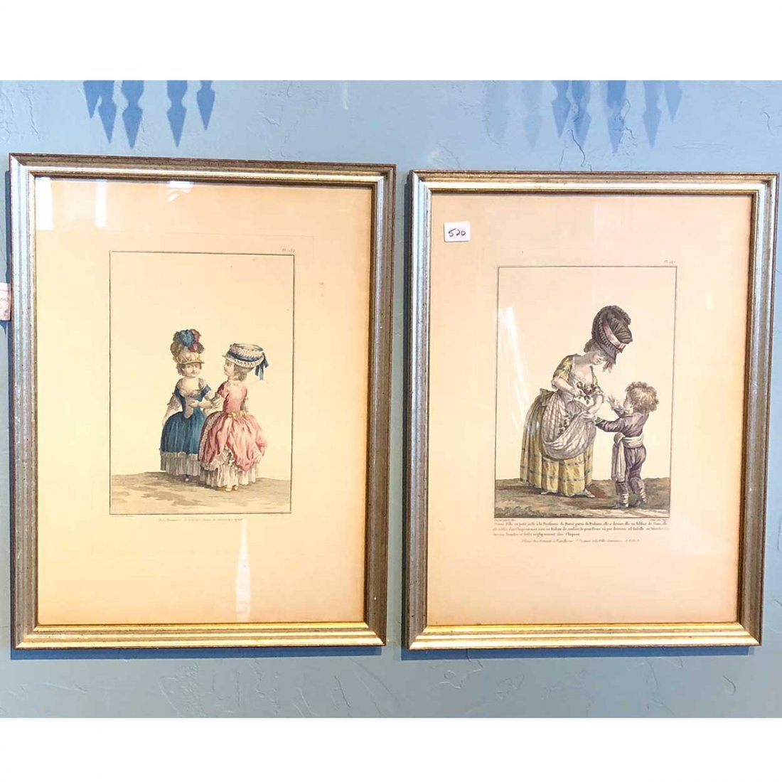 Pair French Hand Colored Fashion Plate Engravings