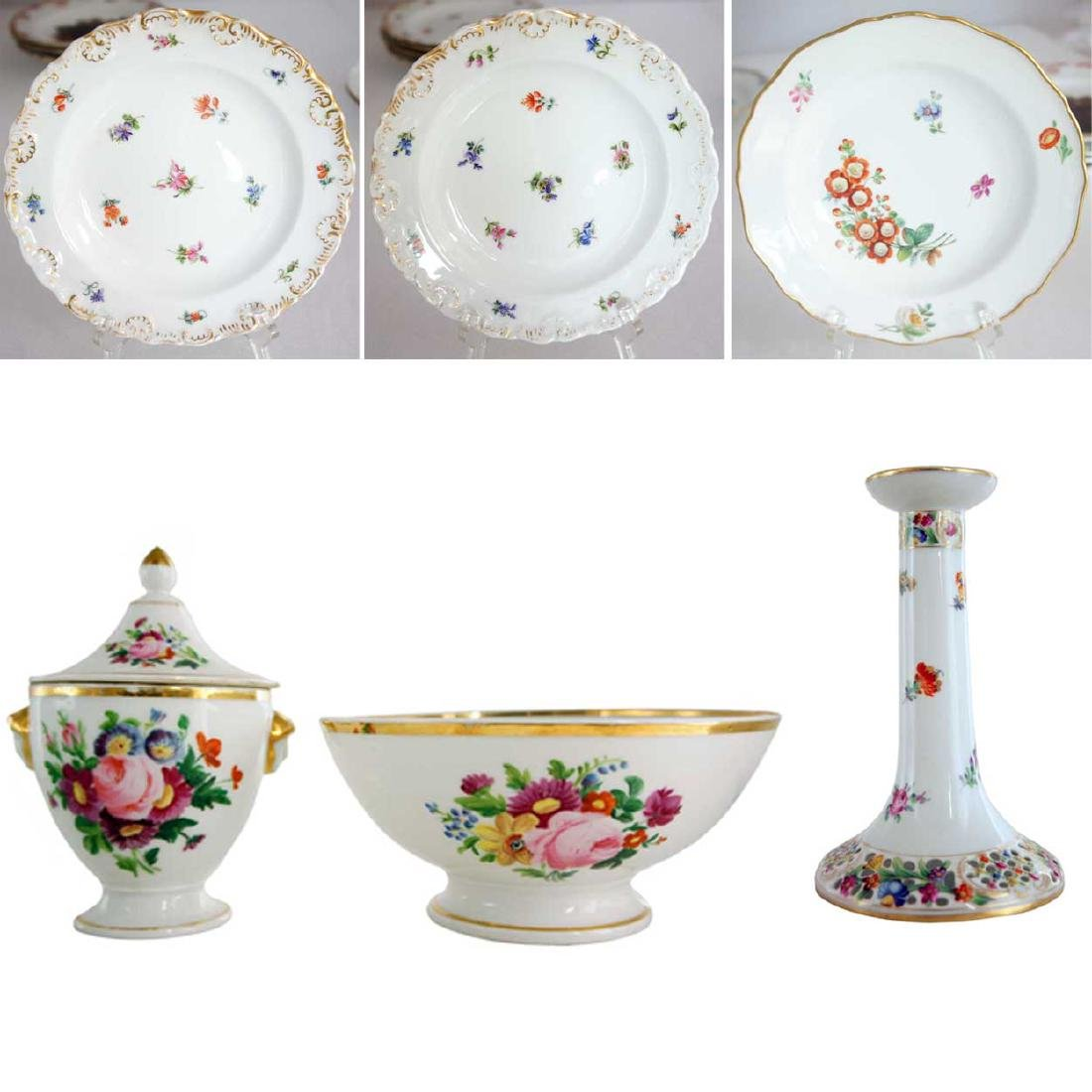 Six Pieces French and German Porcelain Tableware