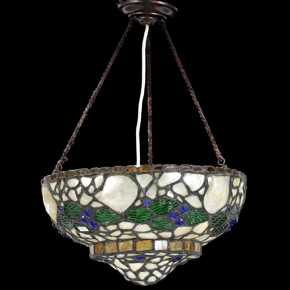 Swedish Glass Mosaic Bowl Pendant Hanging Light Fixture