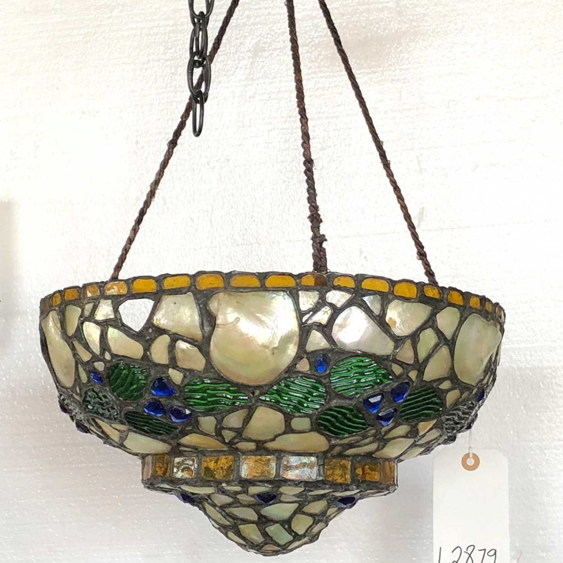 Swedish Glass Mosaic Bowl Pendant Hanging Light Fixture - 5
