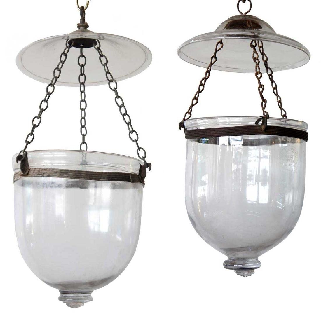 Two Anglo Indian Glass Hanging Hall Lights