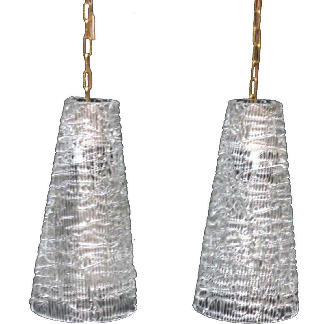 Pair Swedish CARL FAGERLUND for Orrefors Pendant Lights