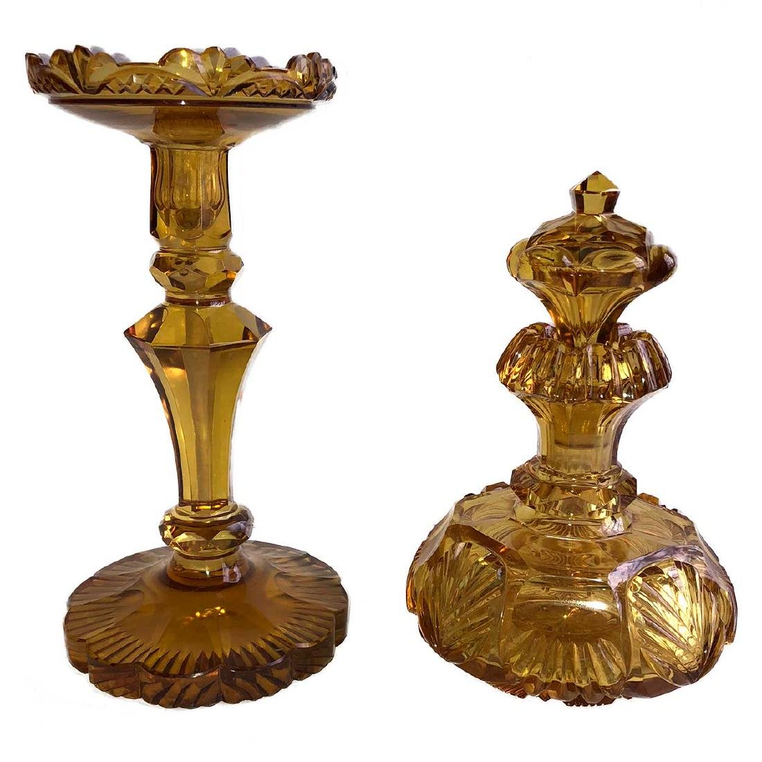 Amber Cut Glass Perfume Bottle and Candlestick
