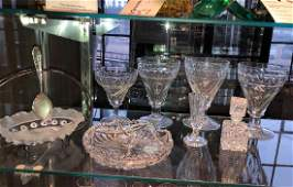 Eight Pieces Antique and Vintage Cut Glass Tableware