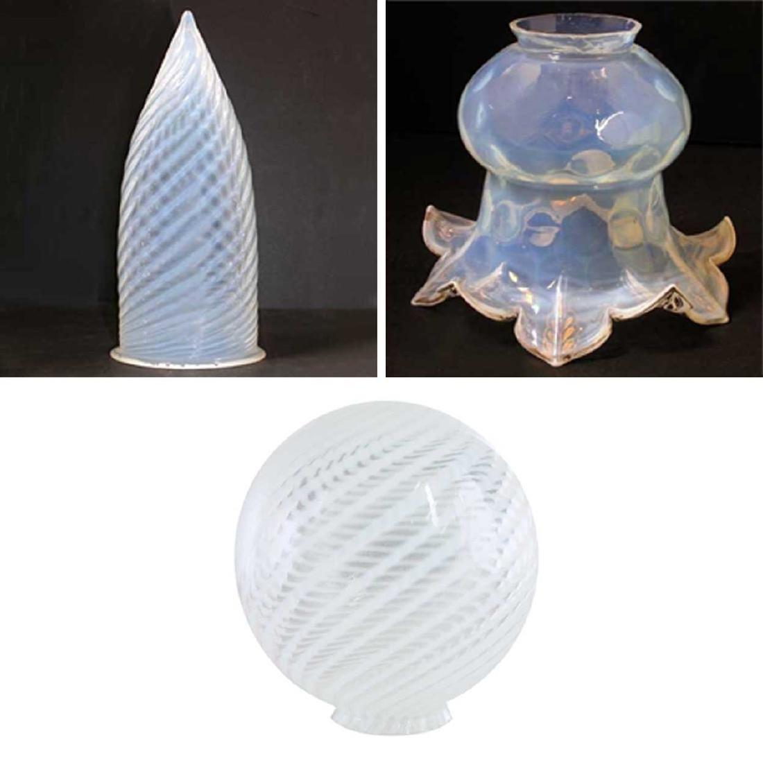 Three Antique Glass Lamp Shades