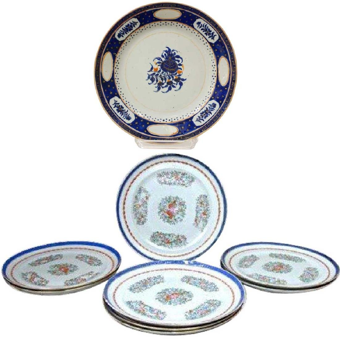 Seven Chinese Export Porcelain Plates